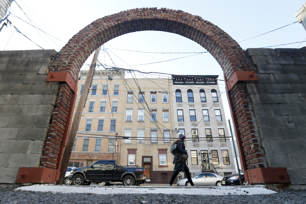 An arch is seen at the spot of singer Frank Sinatra's childhood home in Hoboken, N.J. The house burned down in the 1950s. Sinatra would have celebrated his 100th birthday on Dec. 12.