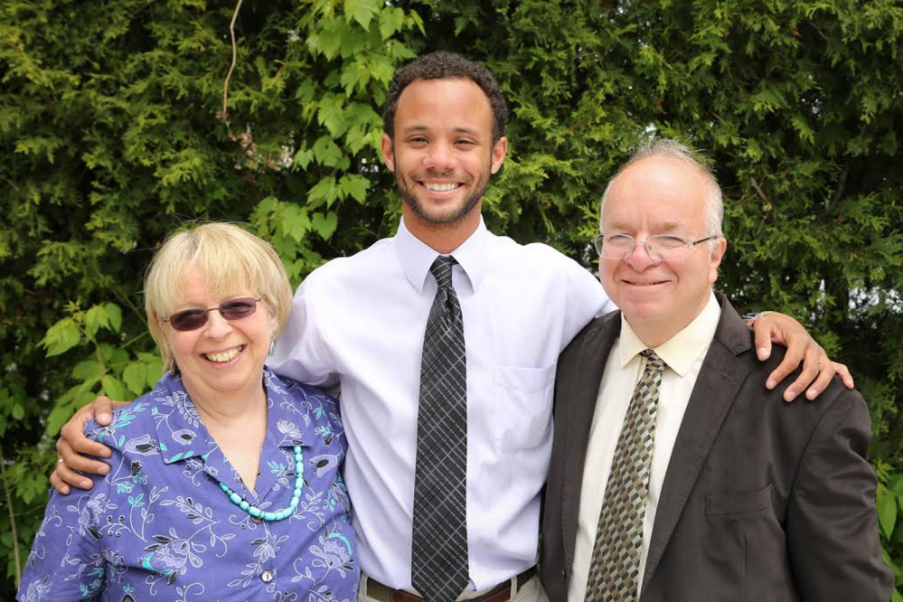 AnneMarie Catanzano, David Catanzano Broida, and John Broida in a May 2013 family photo when David graduated from UVM. John Broida, a longtime University of Southern Maine psychology professor, died of pancreatic cancer last year. Family photo