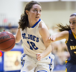 St. Joseph's freshman Kelsi McNamara scored 35 points and made a key 3-pointer late in the fourth quarter as the Monks beat Southern Maine 74-67 on Sunday in Standish.