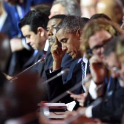 U.S. President Barack Obama attends a session at the United Nations Climate Change Conference outside Paris on Monday.