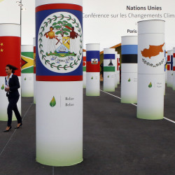A participant walks in front of China's flag amid more than 150 countries' pillars decorating the entrance of the COP21, United Nations Climate Change Conference, in Le Bourget, outside Paris, Monday, Nov. 30, 2015.