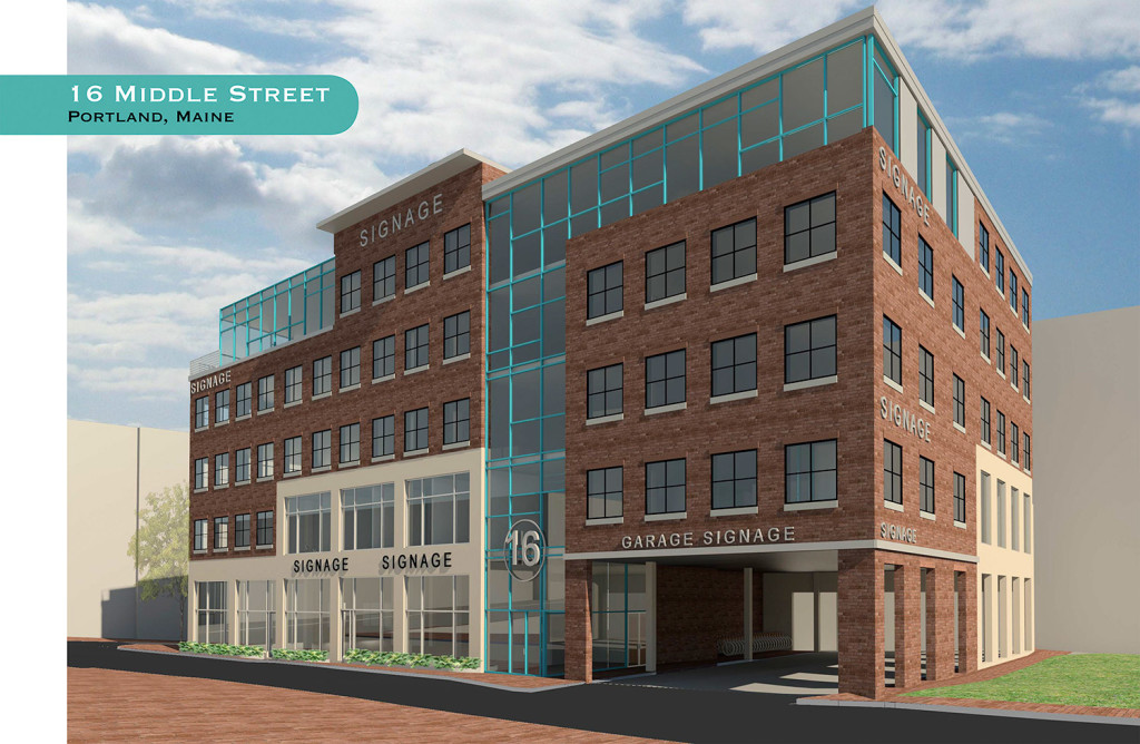 One of two planned real estate projects downtown by Fred Forsley, co-founder of Shipyard Brewing Co. This rendering shows a development on 16 Middle Street.