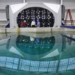 Waves distort the reflection in a wave pool and wind tunnel at the University of Maine in Orono. The university's new wind-wave basin is capable of simulating some of the worst conditions at sea at a 1:50 scale. Robert F. Bukaty/The Associated Press