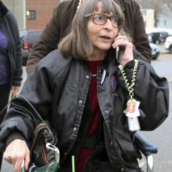 Linda Horan arrives for a hearing Nov. 12 in Merrimack County Superior Court, seeking a marijuana identification card before dispensaries open next year in New Hampshire. A judge ruled Tuesday that Horan may buy marijuana in Maine. The Associated Press