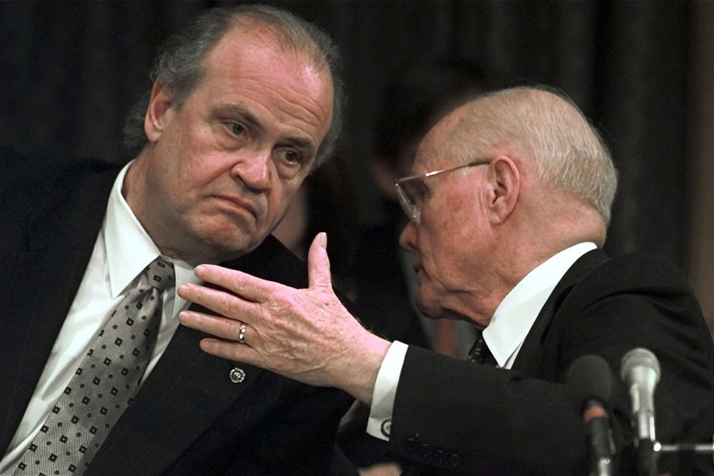 In this 1998  photo, Senate Campaign Finance Committee Chairman Fred Thompson, R-Tenn, left, listens to co-chair Sen. John Glenn, D-Ohio, before the full committee voted to adopt the majority's report on Campaign Fund Raising. The Associated Press