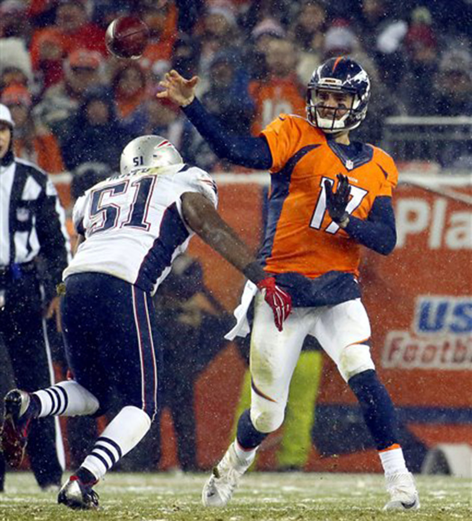Broncos quarterback Brock Osweiler throws under pressure from Patriots middle linebacker Jerod Mayo in the second half . The Associated Press