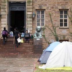 Tents are erected outside of Princeton University's Nassau Hall, where students from a group called the Black Justice League staged a sit-in.