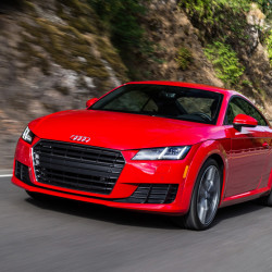A blunt, seven-bar grille changes the look of the front of the 2016 Audi TT Coupe with a fresh Volkswagen-derived platform, but the lines and curves will be familiar. (Audi)