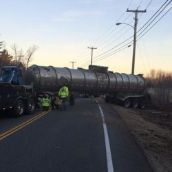 A tractor-trailer accident at the intersection of Buxton Road and Rocky Hill Road caused delays Wednesday.