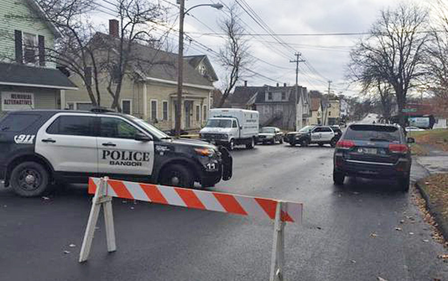 Center Street in Bangor is blocked off after a shooting early Friday left one man dead and another wounded. Photo courtesy WCSH