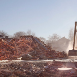 PORTLAND, ME - NOVEMBER 24: St. Patrick Roman Catholic Church on Congress Street in Portland is demolished on Tuesday, November 24, 2015. The property was bought by the Jewish Community Alliance of Southern Maine, which plans to build a community center on the site. The church held its last mass in 2013. (Photo by Gregory Rec/Staff Photographer)
