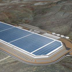 "Construction is underway on Tesla's ""Gigafactory"" in the Nevada desert, where the company will manufacture Powerwalls for the global energy storage market. Image from Tesla's website"