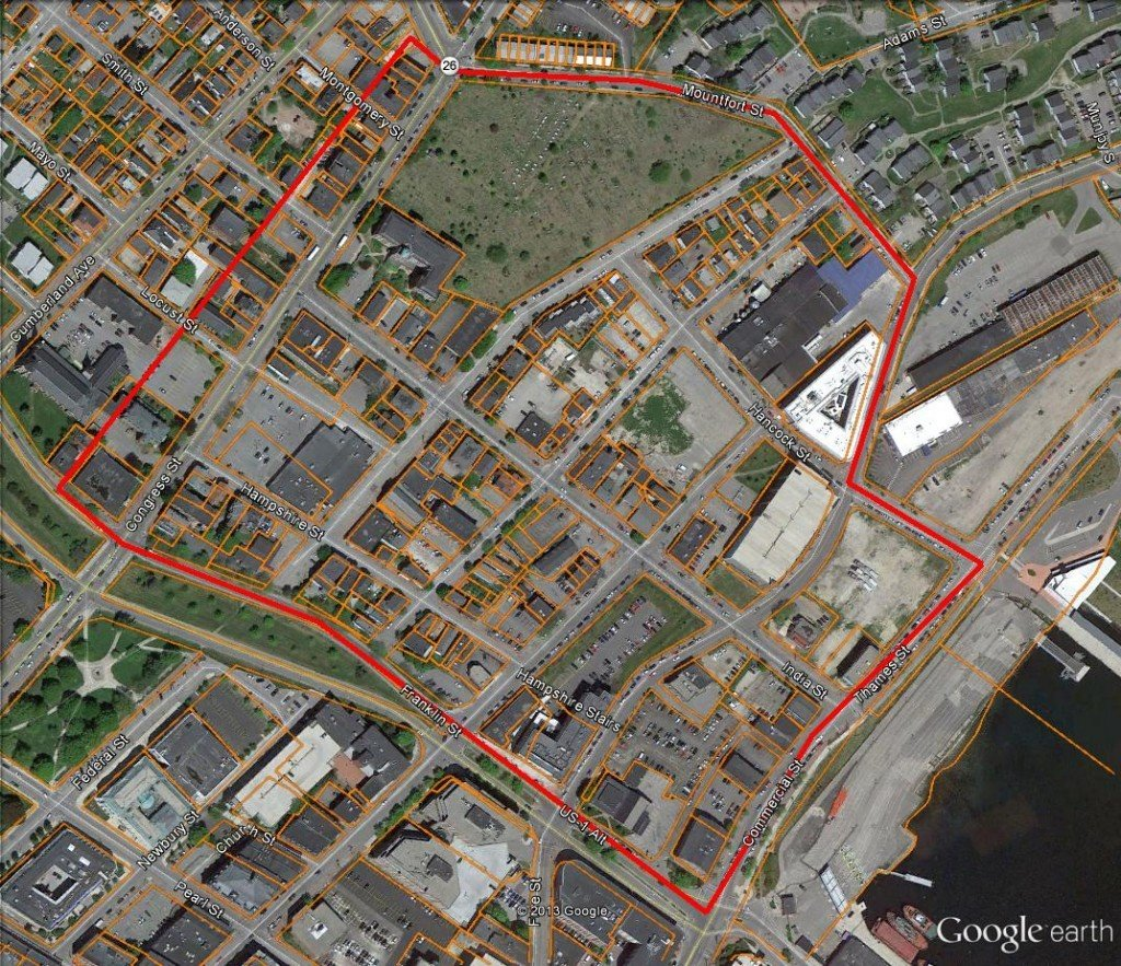 The India Street neighborhood is generally bounded by Congress, Mountfort, Commerial and Franklin streets. Map created by Sustainable Southern Maine