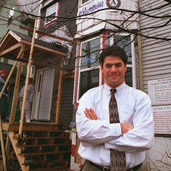 Ethan Strimling, Executive director of Portland West (today known as LearningWorks) stands in front of a Youth Build project site at 214 Park Ave. in Portland on Friday, April 17, 1998.