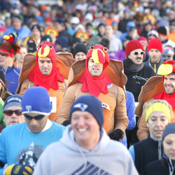 Some runners dressed for the holiday during the Portland Thanksgiving Day 4-Mile road race in Portland on November 28, 2013.  Tim Greenway/Staff Photographer