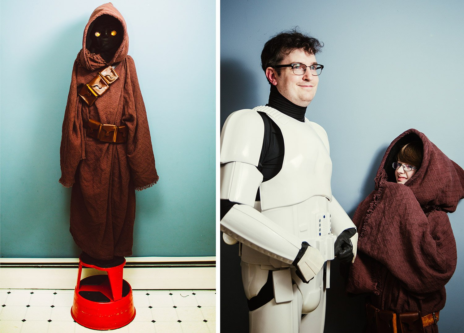 "Declan McMahon, 12, and his father Tim McMahon dress as a Stormtrooper and a Jawa at their home in Portland. Tim made Declan's costume by hand, and the father and son regularly attend ""Star Wars"" meet-ups in costume."