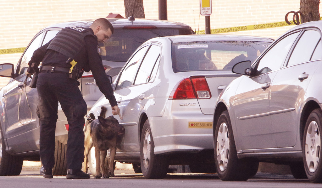 A Portland police officer leads a dog around cars parked outside of 100 Middle Street in Portland on Monday,  during a suspicious package investigation. Gregory Rec/Staff Photographer