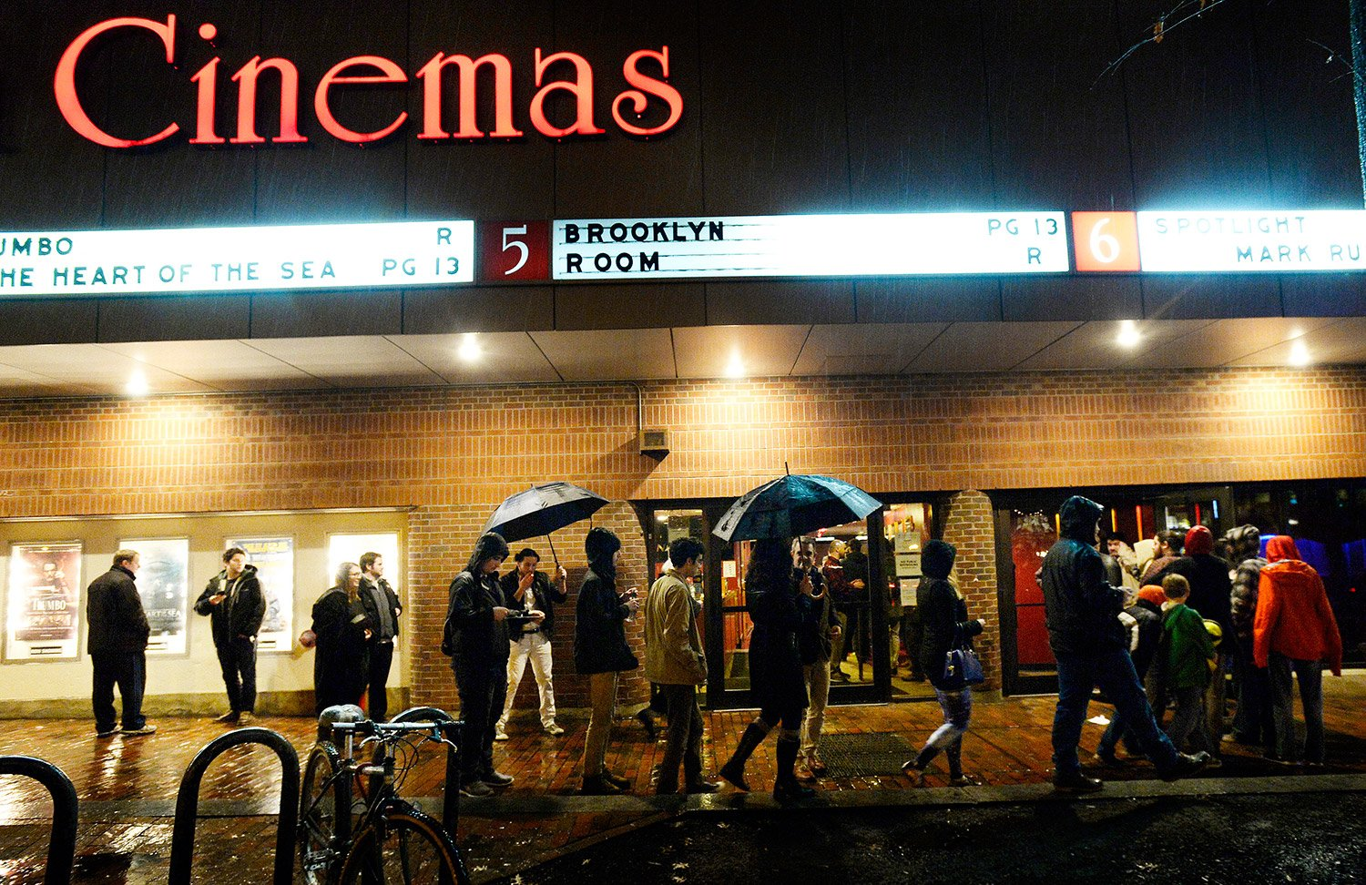 A line forms outside the Nickelodeon in Portland before Thursday night's showing of