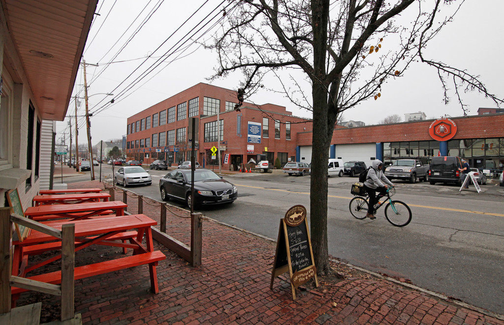 A view from Teralingua across Washington Avenue shows Maine Mead Works which also houses the Honey Exchange, and the former Nissen building where Roustabout and Maine & Loire wine shops have opened up. Food-related businesses are popping up along Washington Avenue in Portland.