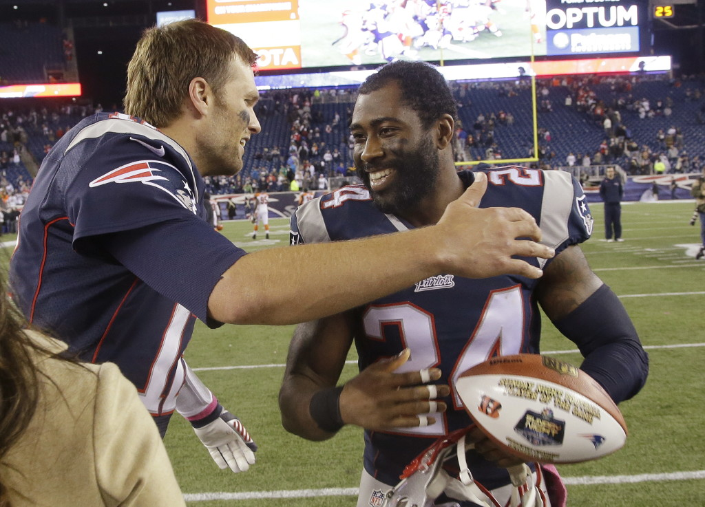 Tom Brady, left, and Darrelle Revis celebrate after a win last season. When the two met as opponents earlier this season, their greeting was as cordial. Revis left the Patriots in the offseason to return to the team he played with in the first six seasons of his career – the New York Jets. File Photo/The Associated Press