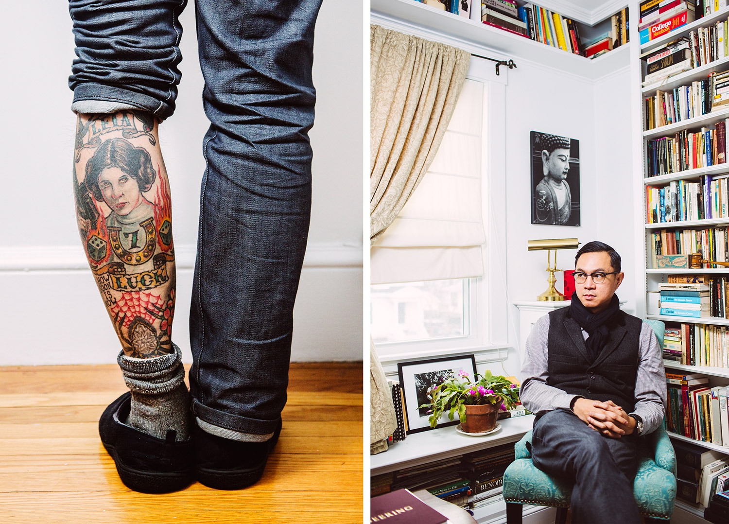 """Star War"" fan Phuc Tran, a Latin teacher and co-owner of Tsunami Tattoo, shows off Princess Leia tattoo at his home in Portland."