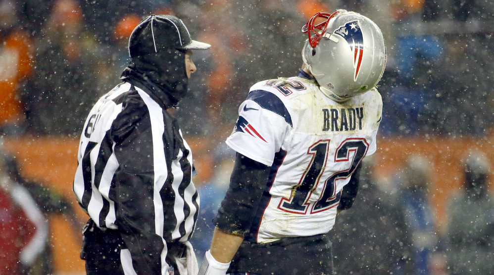 Tom Brady was not happy with officials during the Patriots' loss to the Broncos on Sunday night, becoming especially upset about a pass interference call on Rob Gronkowski.