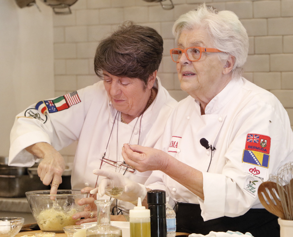 The Tuscan Mamas, Franca Gatteschi, left, and Mimma Ferrando, are favorites at Stonewall Kitchen in York.