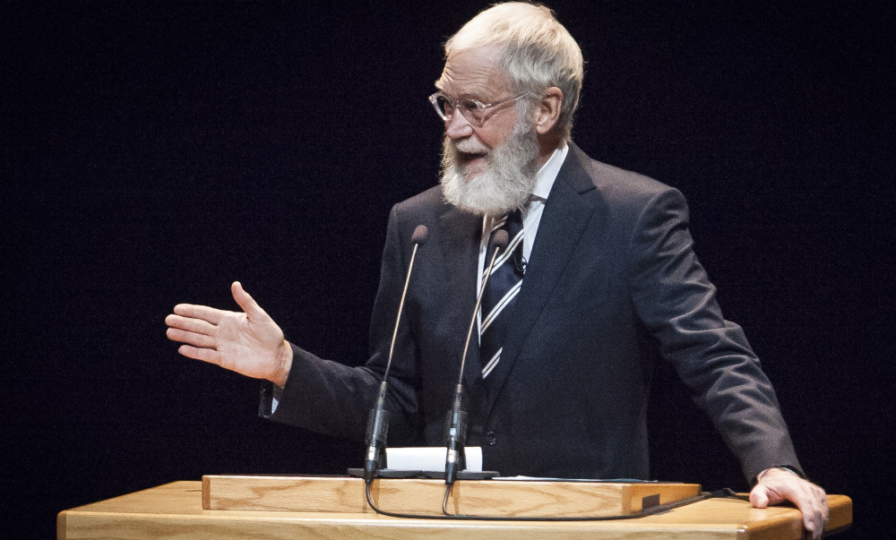Now sporting a bushy beard, retired late-night talk host David Letterman speaks Monday at Ball State University, the Indiana school where he got his degree in 1969.