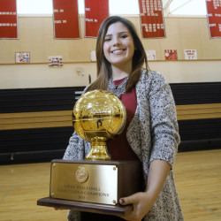 Emily Hanson played a crucial role in helping Scarborough win its first Class A championship in volleyball. The senior libero had 235 digs, 20 kills and 55 aces to lead the fifth-seeded Red Storm to the state title.