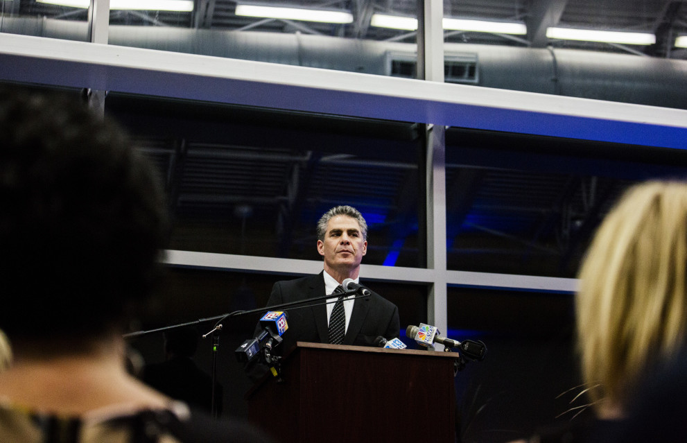 "Newly inaugurated Portland Mayor Ethan Strimling makes his inaugural speech Monday night at the Ocean Gateway terminal. He told the crowd of nearly 200 people, ""We must welcome change, but not as our new master."" Whitney Hayward/Staff Photographer"