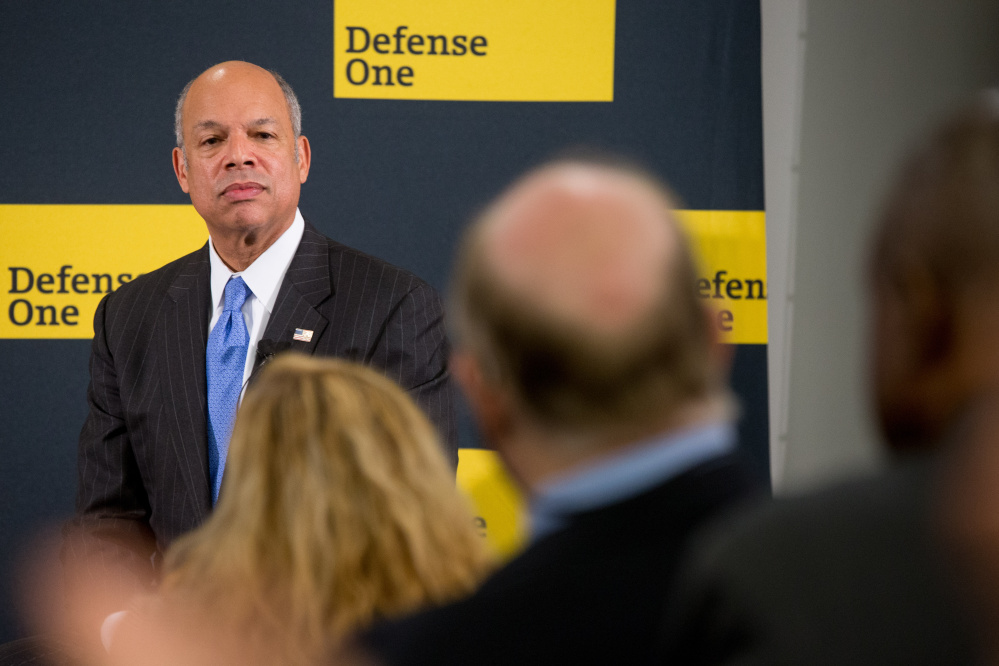 "Secretary of Homeland Security Jeh Johnson appears for a Defense One ""leadership briefing"" Monday on the agency's efforts to tackle growing terrorism threats in the U.S. and abroad."