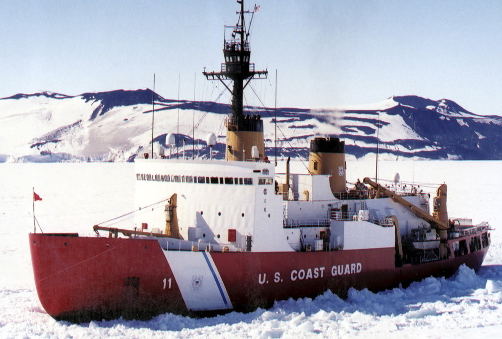 The Coast Guard's icebreaker Polar Sea is shown in the ice channel near McMurdo, Antarctica in 2002. Maine's U.S. Sen. Angus King sees benefits for Maine if the U.S., which currently has only five icebreakers, decides to build more.