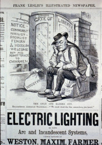 A political cartoon from 1882 about the Chinese Exclusion Act.