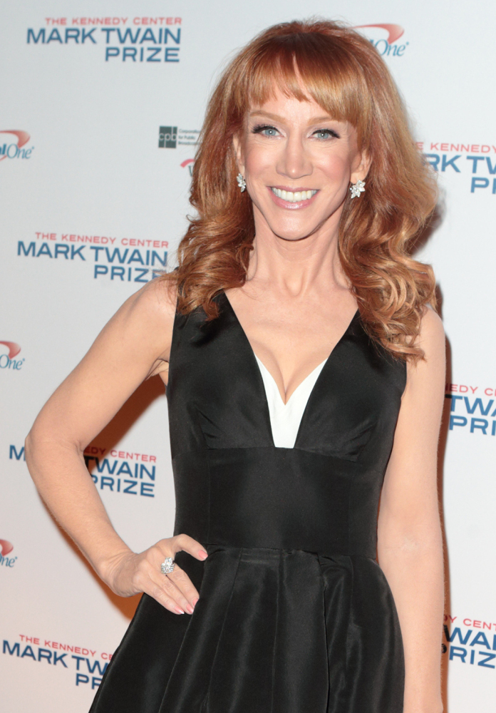 FILE - In this Oct. 18, 2015, file photo, comedian Kathy Griffin arrives at the Kennedy Center for the Performing Arts for the 18th Annual Mark Twain Prize for American Humor presented to Eddie Murphy, in Washington. Griffin will perform on two Carnival Cruise Line ships docked off of Cozumel, Mexico, in February 2016. (Photo by Owen Sweeney/Invision/AP, File)