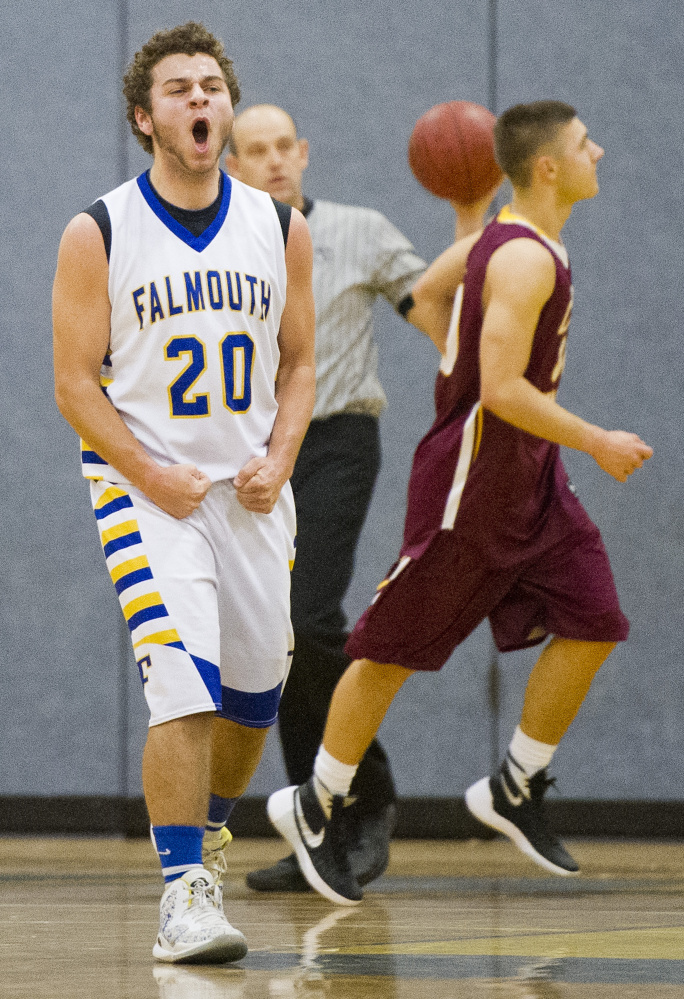 FALMOUTH, ME - DECEMBER 8: Ben Simonds (cq) of Falmouth lets out a yell as his team mounted a comeback after falling behind to Cape Elizabeth early in the second half of a boys basketball game Tuesday, December 8, 2015. (Photo by Gabe Souza/Staff Photographer)