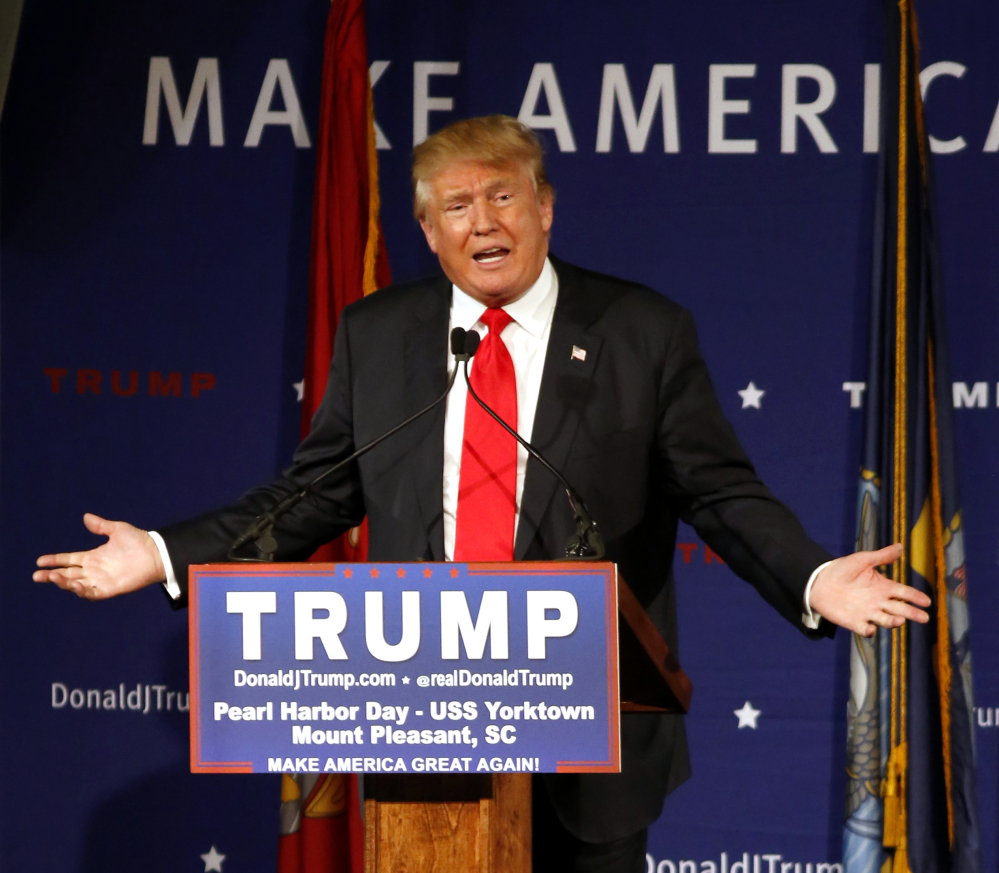 Donald Trump speaks aboard the aircraft carrier USS Yorktown on Sunday in Mt. Pleasant, S.C.
