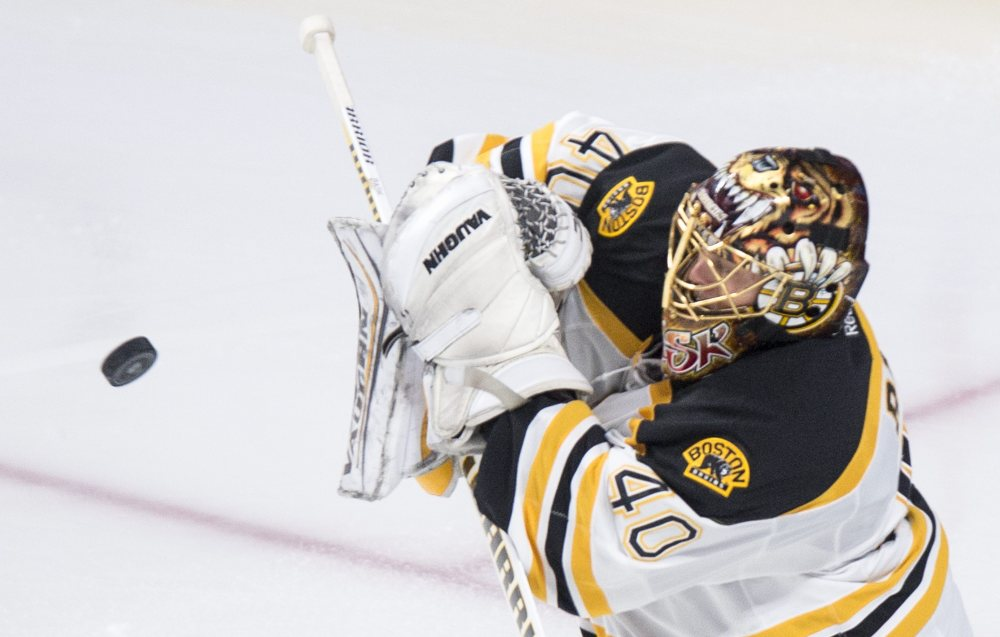 Bruins goalie Tuukka Rask deflects a shot by the Canadiens in second period. Rask made 32 saves in the game, allowing just one goal.