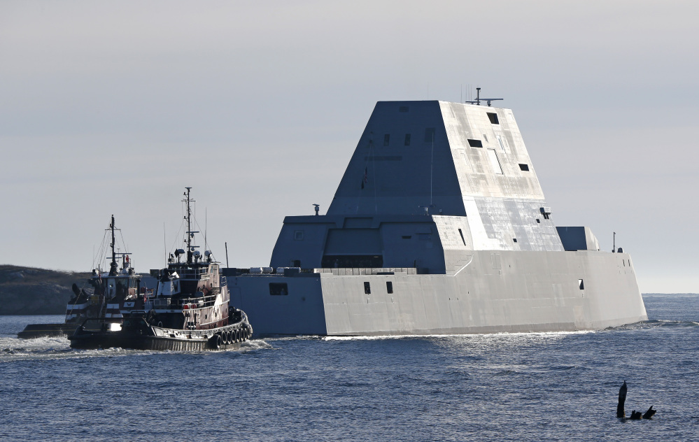 The first Zumwalt-class destroyer built at Bath Iron Works, the USS Zumwalt,  leaves the Kennebec River for sea trails in this Dec. 10 photo.