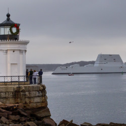 The Zumwalt, Bath Iron Works' new stealth destroyer undergoing sea trials, slipped into the harbor Thursday bound in fog to pick up supplies and personnel at the International Marine Terminal. Gabe Souza/Staff Photographer