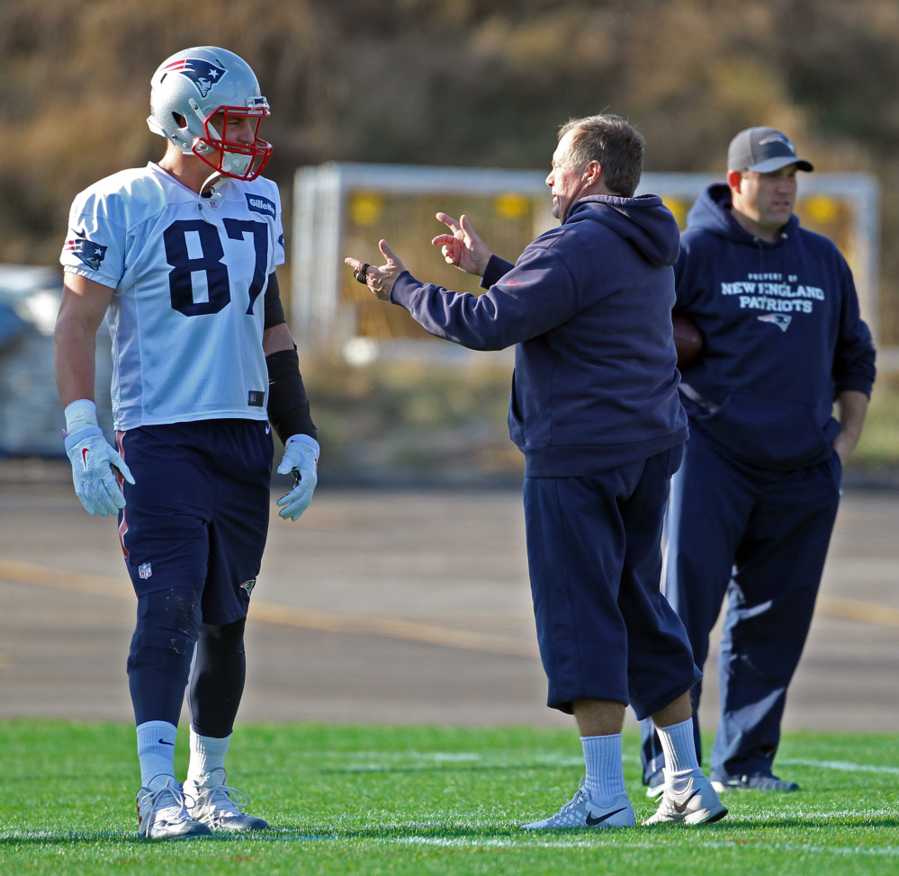 Patriots tight end Rob Gronkowski has been back on the practice field the last two days, but his status is questionable for Sunday night's game against the Houston Texans.