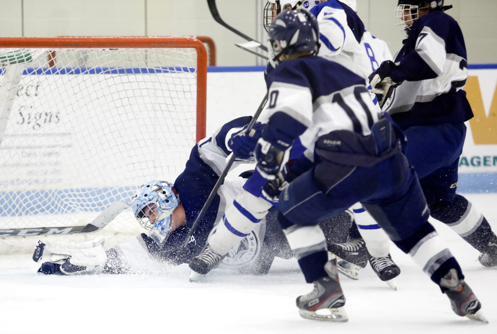 Dan Latham of Yarmouth has made 30-plus saves in three straight games. On Saturday the sophomore made 41 saves for the Clippers, who scored four straight goals to erase a 1-1 tie and went on to beat Kennebunk at Harold Alfond Forum in Biddeford.