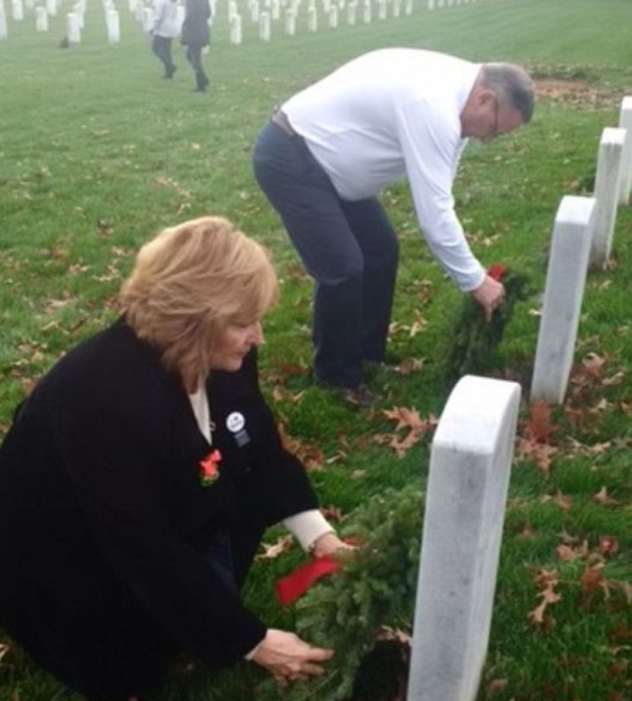 Gov. Paul LePage and first lady Ann LePage lay wreaths at Arlington National Cemetery on Saturday.