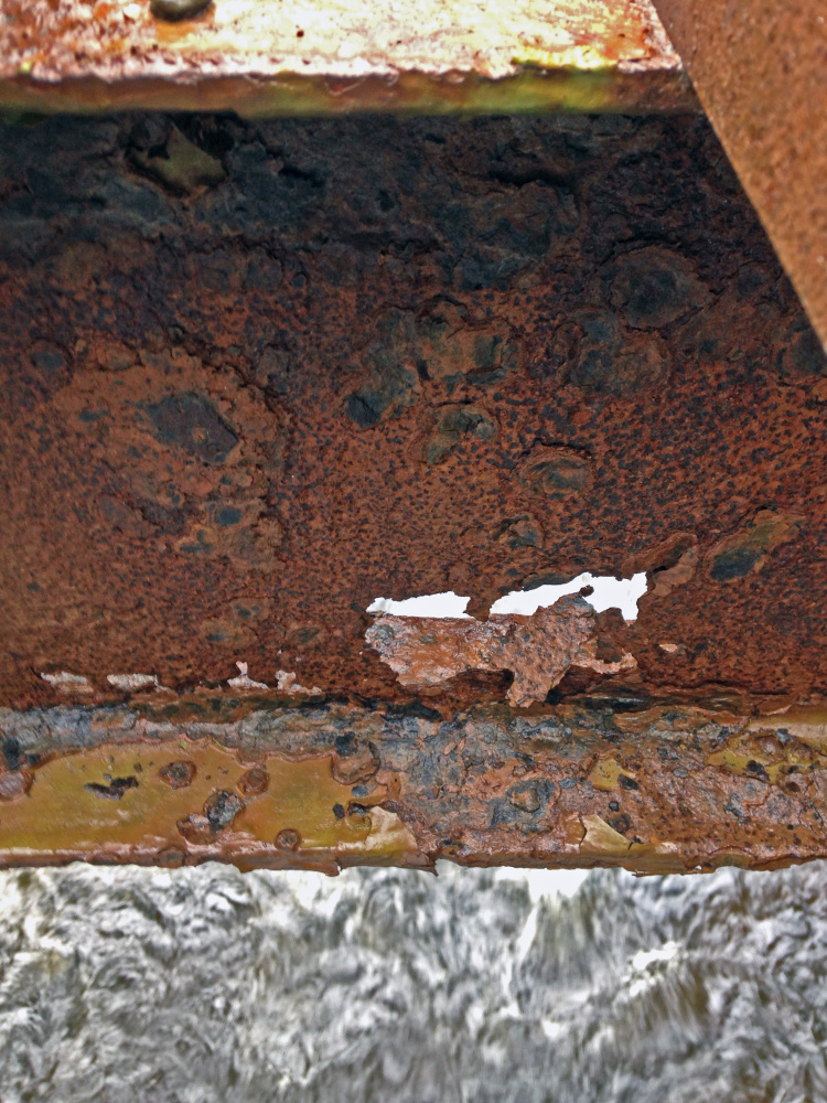 Rust eats away at beam on the closed Northy Bridge on Howe Road in Whitefield.