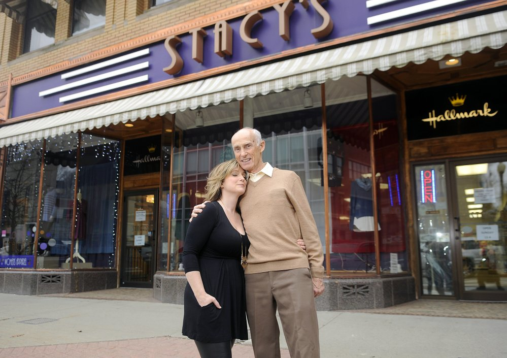 The father-daugther team of Richard Cummings and Stacy Gervais are closing Stacy's Hallmark Store, and bound for the Fort Myers area of Florida.