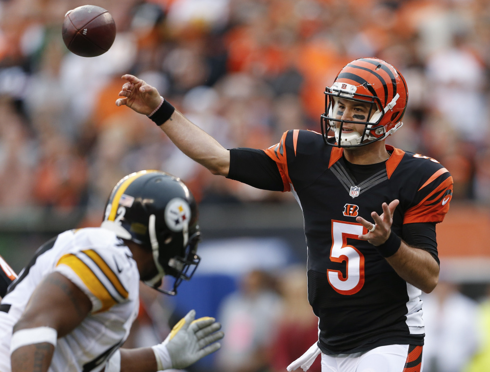 Cincinnati quarterback AJ McCarron got some playing time against the Steelers, throwing two TDs but also two interceptions, when starter Andy Dalton was injured last Sunday. This week, the former Alabama star gets his first start.