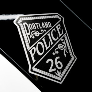 PORTLAND, ME - DECEMBER 15: A new decal on a police cruisers in Portland in honor Officer Charles McIntosh who was killed in the line of duty in 1915. Tuesday, December 15, 2015. (Photo by Shawn Patrick Ouellette/Staff Photographer)