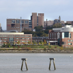 PORTLAND, ME - OCTOBER 14: View of Maine Medical Center with Mercy Hospital in the foreground in Portland. (Photo by John Patriquin/Staff Photographer)
