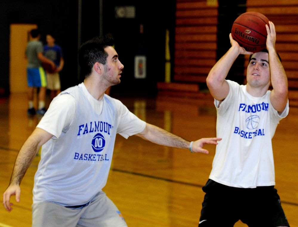 Thomas Coyne, left, and his brother, Colin, lead a Falmouth High team that won its first four games. Thomas, a senior, is averaging 31.1 points; Colin, a junior, is averaging 17.1.