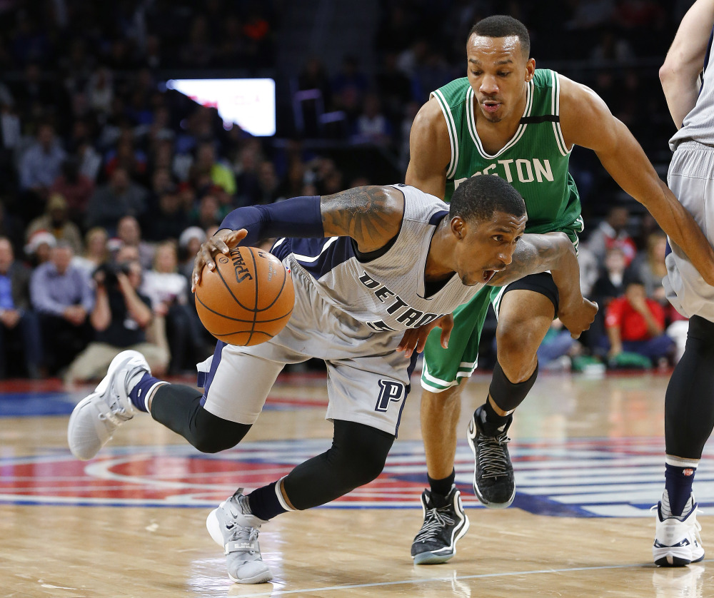 Pistons guard Kentavious Caldwell-Pope drives on Celtics guard Avery Bradley in the second half of the Pistons' win Wednesday night.