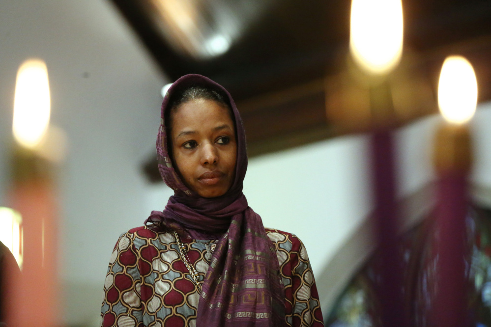 Larycia Hawkins, a Christian who is wearing a hijab over Advent in solidarity with Muslims, attends service at St. Martin Episcopal Church in Chicago on Sunday.